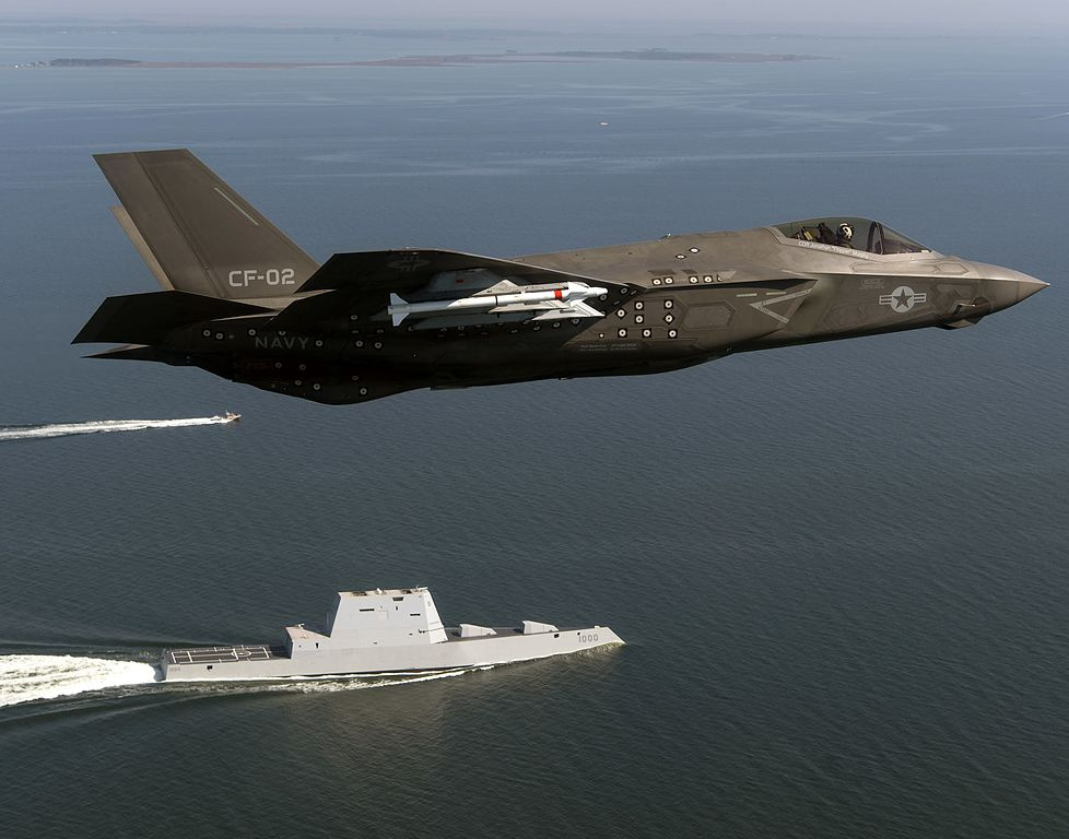 F-35 Lightning II completes a flyover of USS Zumwalt. Wikimedia Commons/U.S. Navy