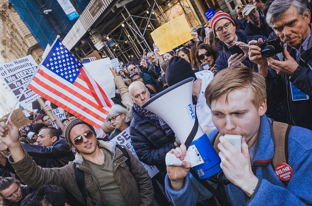 Anti–Donald Trump protesters in New York. Wikimedia Commons/Creative Commons/Mathias Wasik