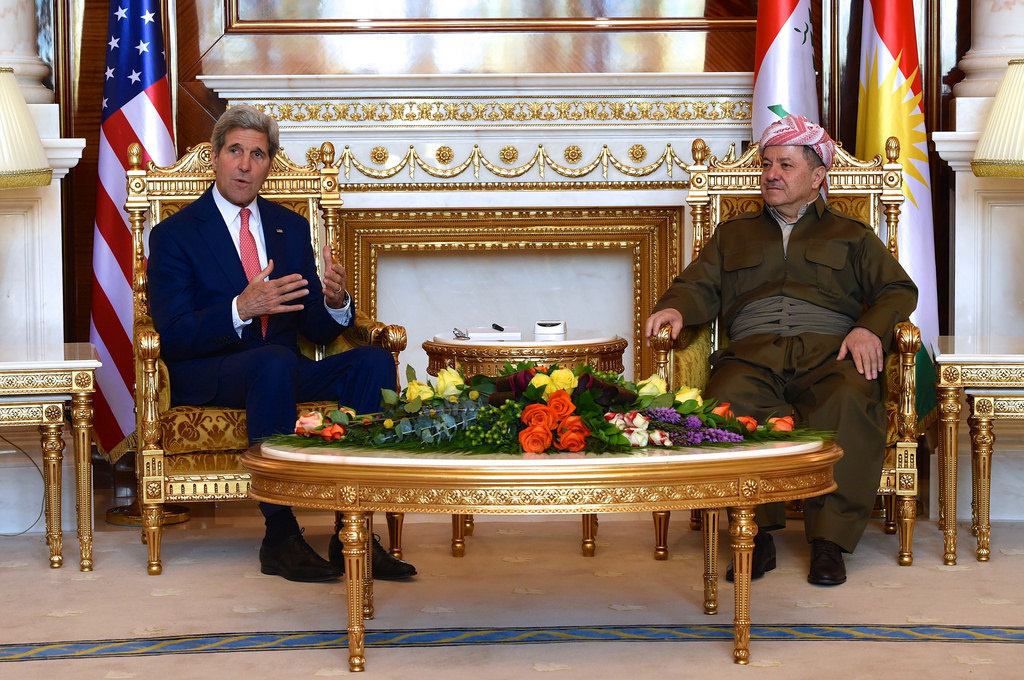 President Masoud Barzani with Secretary of State John Kerry. Flickr/Department of State