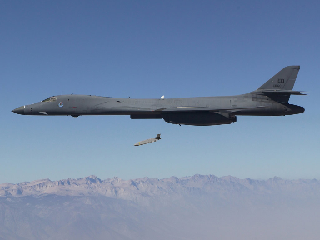 A Long Range Anti-Ship Missile launches from an Air Force B-1B Lancer during flight testing in August 2013. Wikipedia Commons / DARPA photo