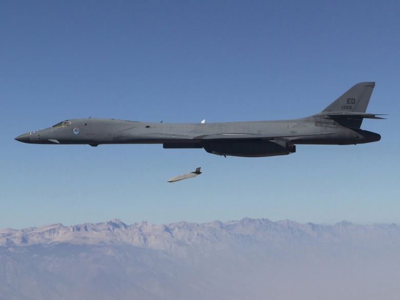 A Long Range Anti-Ship Missile launches from an Air Force B-1B Lancer​. Wikimedia Commons/DARPA