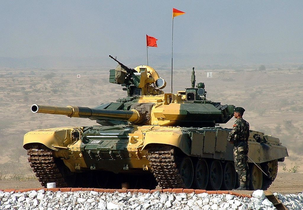 Indian Army Armoured Corps T-90 main battle tank. Wikimedia Commons/Creative Commons/@cell105