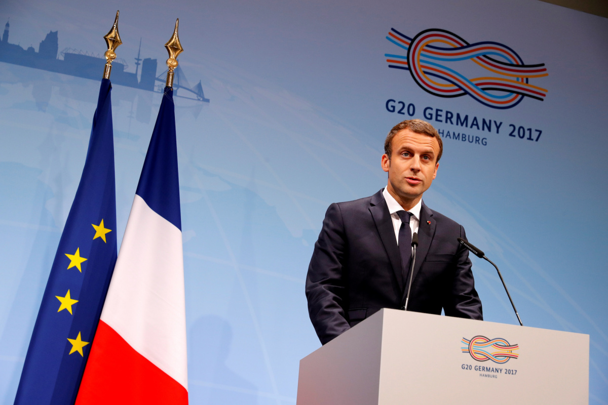 French President Emmanuel Macron speaks during a press conference at the G20 leaders summit in Hamburg, Germany July 8, 2017. REUTERS/Philippe Wojazer.