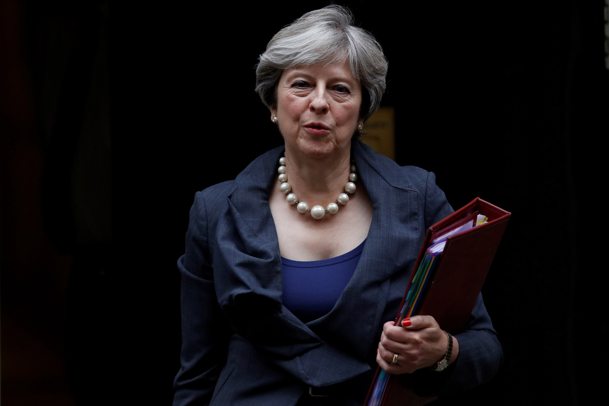 Britain's Prime Minster Theresa May leaves 10 Downing Street in London