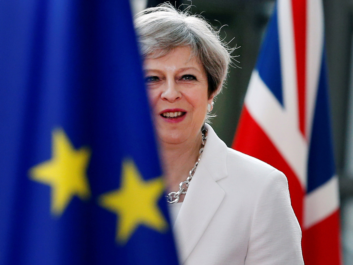British Prime Minister Theresa May arrives at the EU summit in Brussels, Belgium