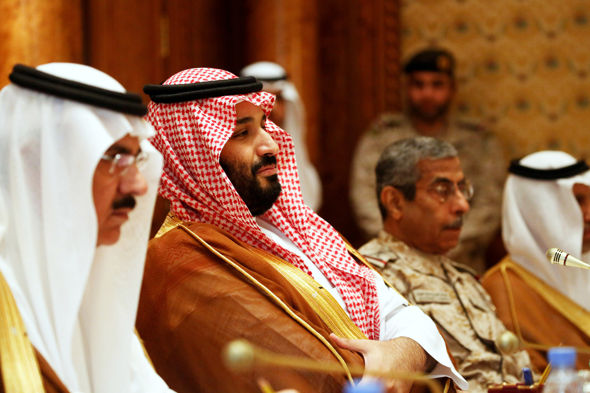 Saudi Arabia's Deputy Crown Prince and Defense Minister Mohammed bin Salman (2nd L) takes his seat to meet with U.S. Defense Secretary James Mattis and his delegation in Riyadh, Saudi Arabia