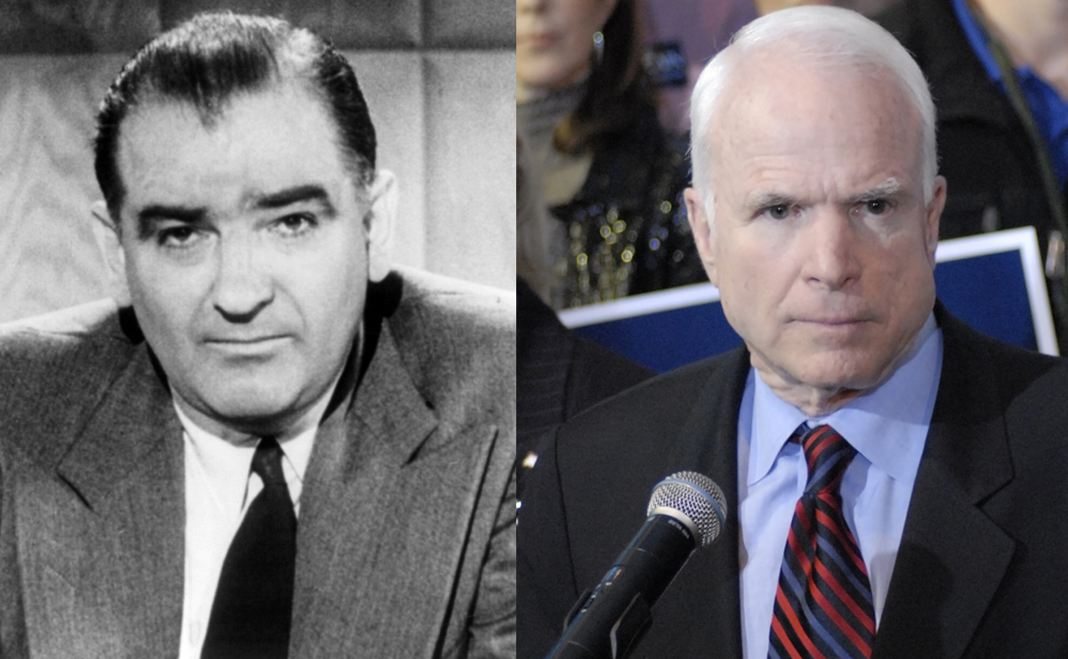 Sen. Joseph McCarthy (public domain). Sen. John McCain in 2008 (Wikimedia Commons/Chris Denbow)