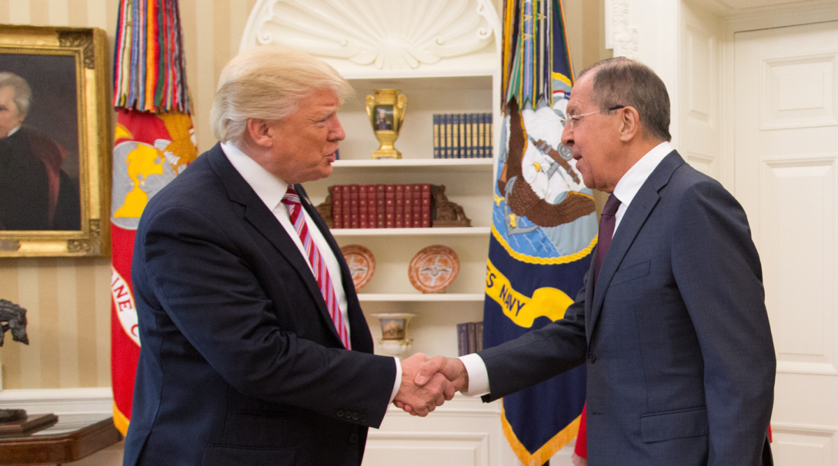 Donald Trump speaks with Sergey Lavrov in the Oval Office. Flickr/The White House