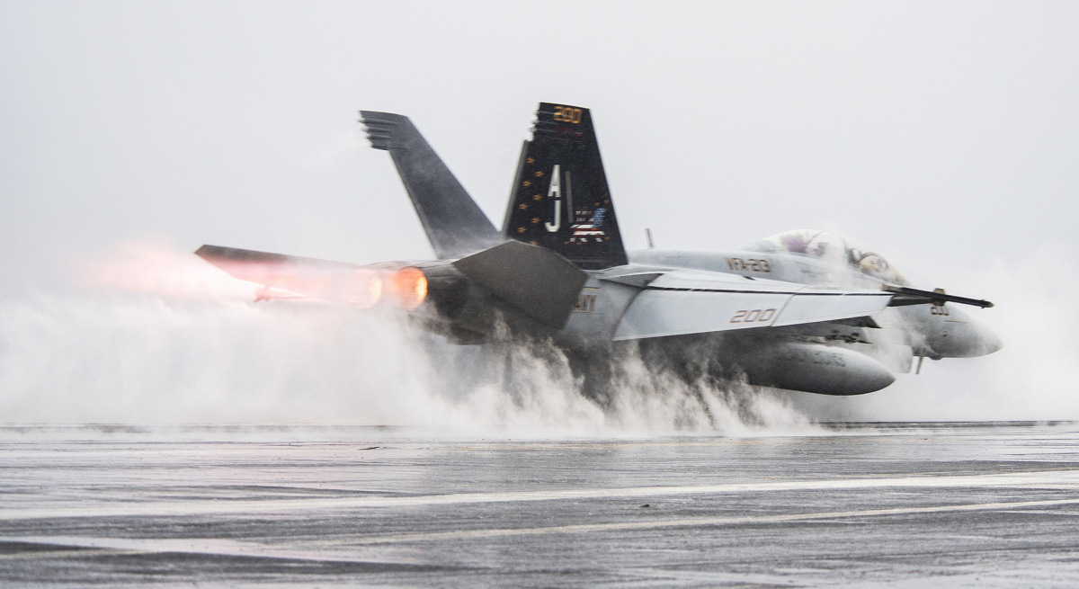 F/A-18F Super Hornet launches from the flight deck of the aircraft carrier USS George H.W. Bush. Flickr/U.S. Navy