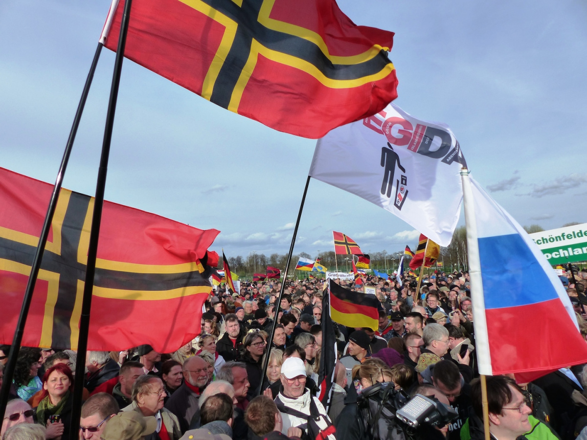 PEGIDA rally in Dresden. Wikimedia Commons/Creative Commons/Metropolico.org