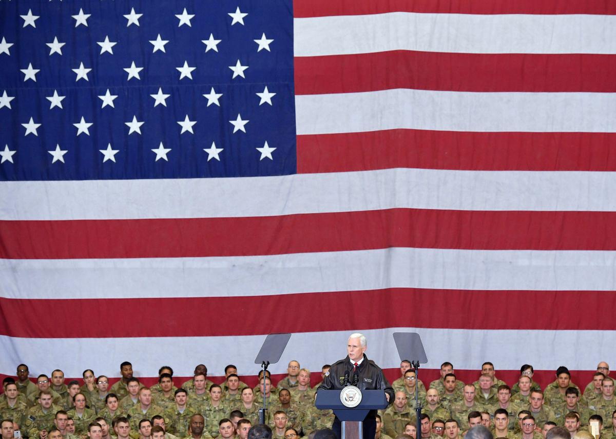 U.S. Vice President Mike Pence speaks to troops in a hangar at Bagram Air Field in Afghanistan
