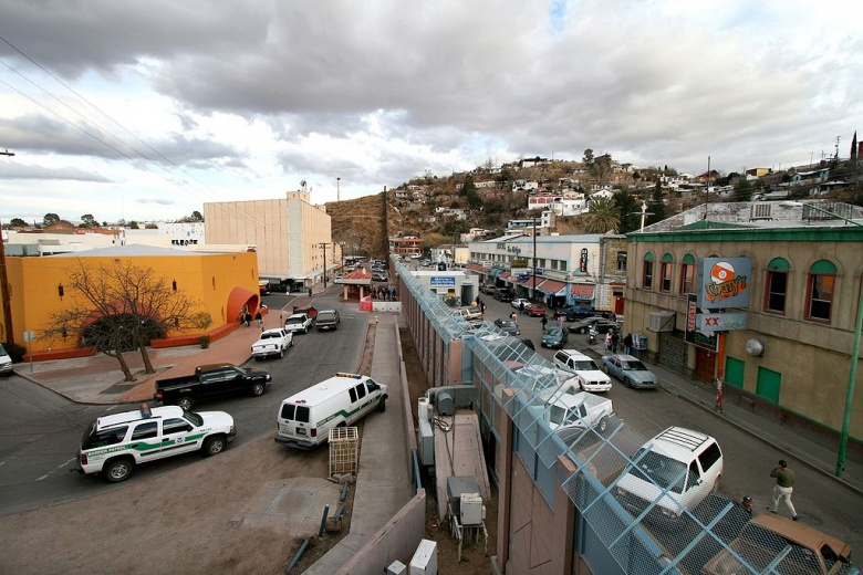 The towns of Nogales, Arizona and Nogales, Mexico separated by a high concrete and steel fence. Wikimedia Commons/U.S. Army