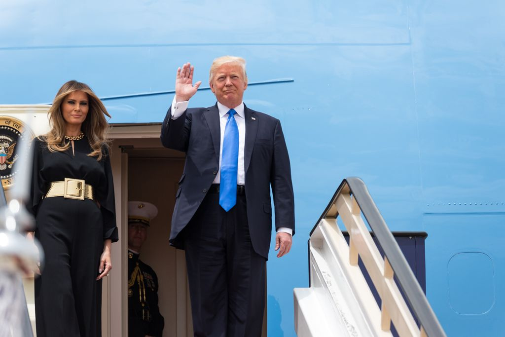 President Donald Trump and First Lady Melania Trump arrive in Riyadh. Wikimedia Commons/Public domain