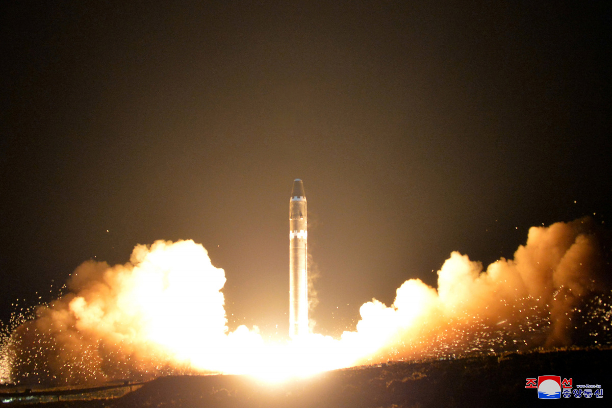A view of the newly developed intercontinental ballistic rocket Hwasong-15's test that was successfully launched
