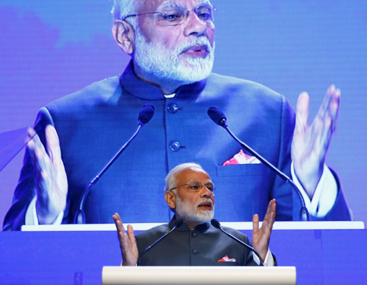 India's Prime Minister Narendra Modi delivers the keynote address at the IISS Shangri-la Dialogue in Singapore June 1, 2018. REUTERS/Edgar Su TPX IMAGES OF THE DAY