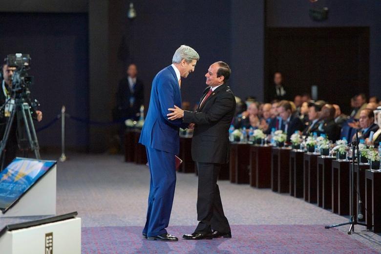 Egyptian President Abdel Fattah al-Sisi with U.S. Secretary of State John Kerry. Wikimedia Commons/U.S. Department of State