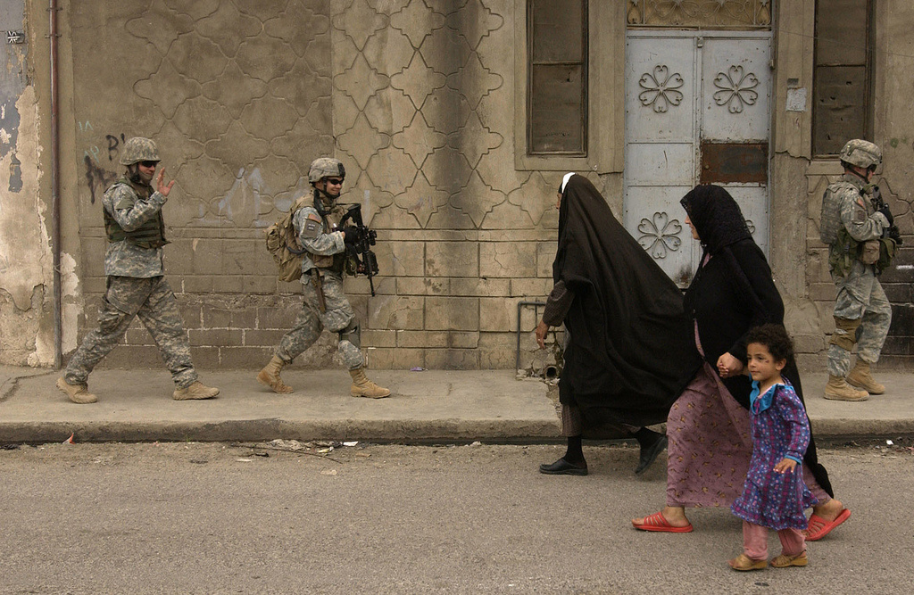 U.S. Army soldiers conduct a neighborhood patrol in Mosul, Iraq, April 12, 2006. Flickr/United States Forces Iraq