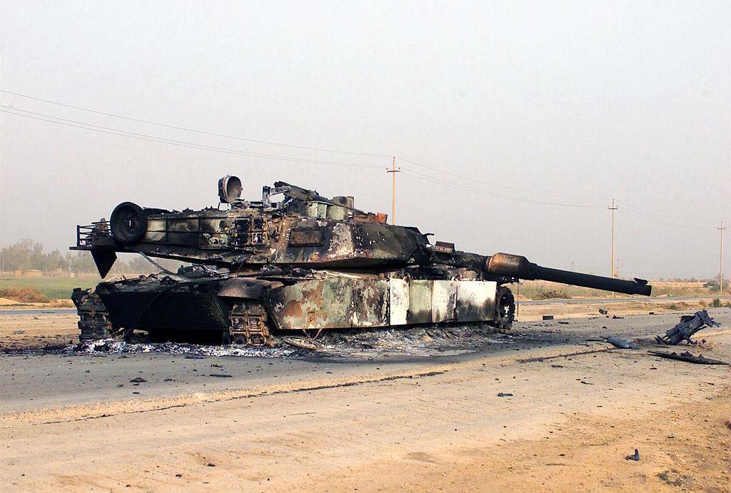 A scuttled M1A1 Abrams Main Battle Tank just outside of Jaman Al Juburi, Iraq. Wikimedia Commons/U.S. Marine Corps