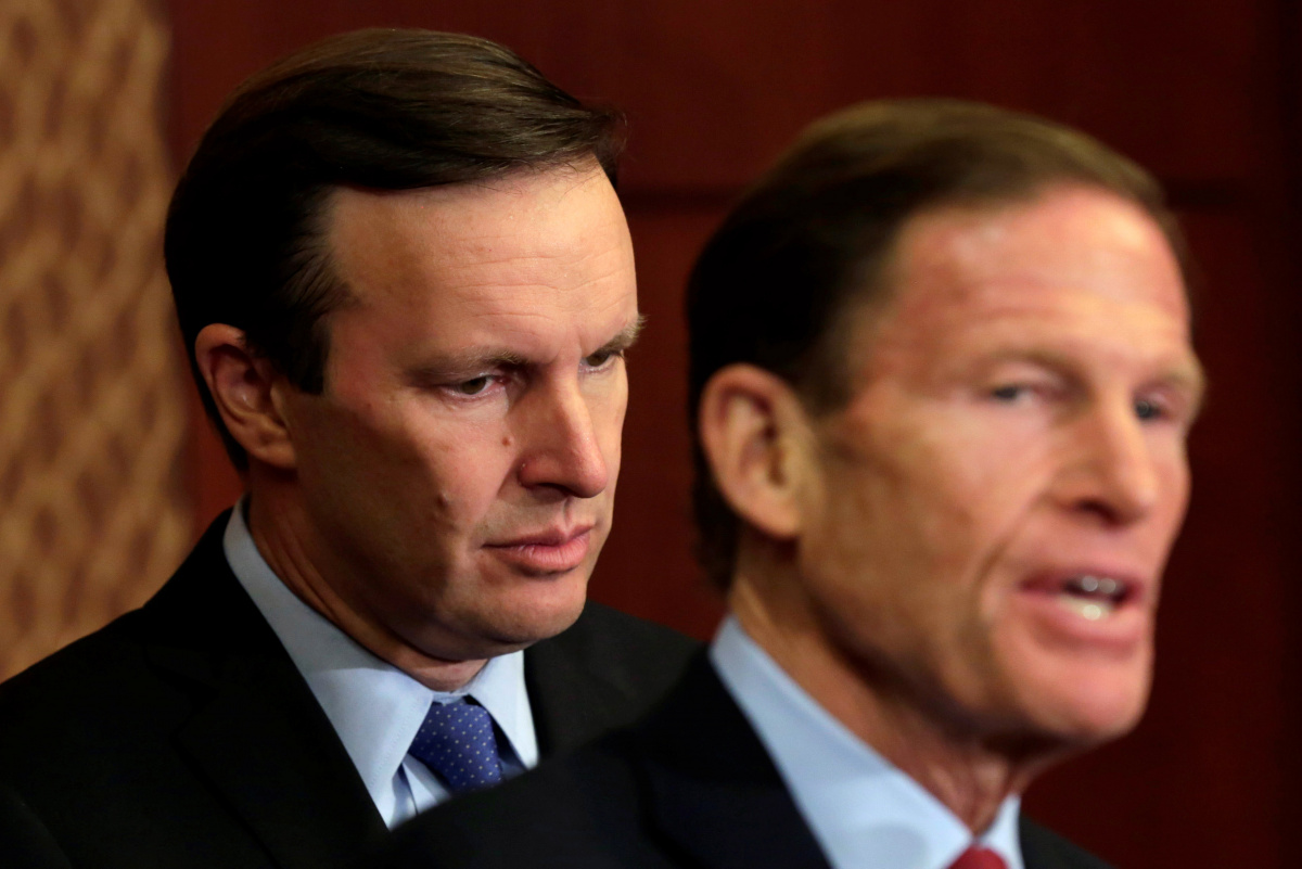 Senators Chris Murphy (D-CT) and Richard Blumenthal (D-CT) hold a news conference on Capitol Hill in Washington