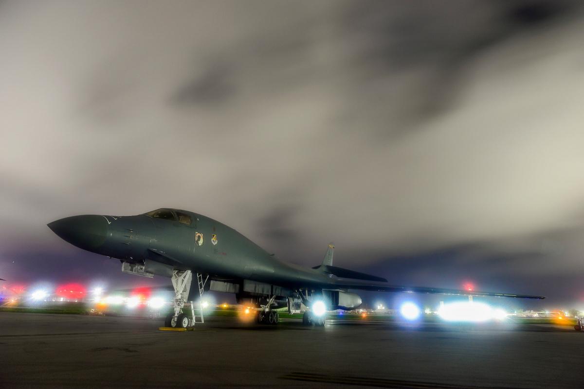 A U.S. Air Force B-1B Lancer bomber sits on the runway at Anderson Air Force Base, Guam