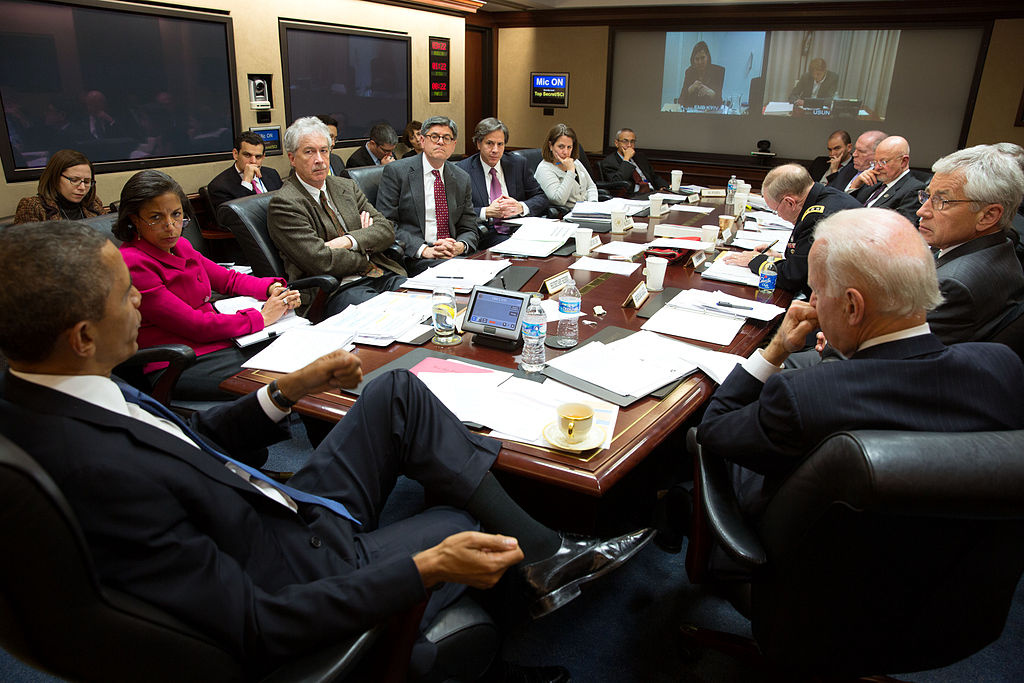 President Barack Obama convenes a National Security Council meeting in the Situation Room of the White House. Wikimedia Commons/The White House