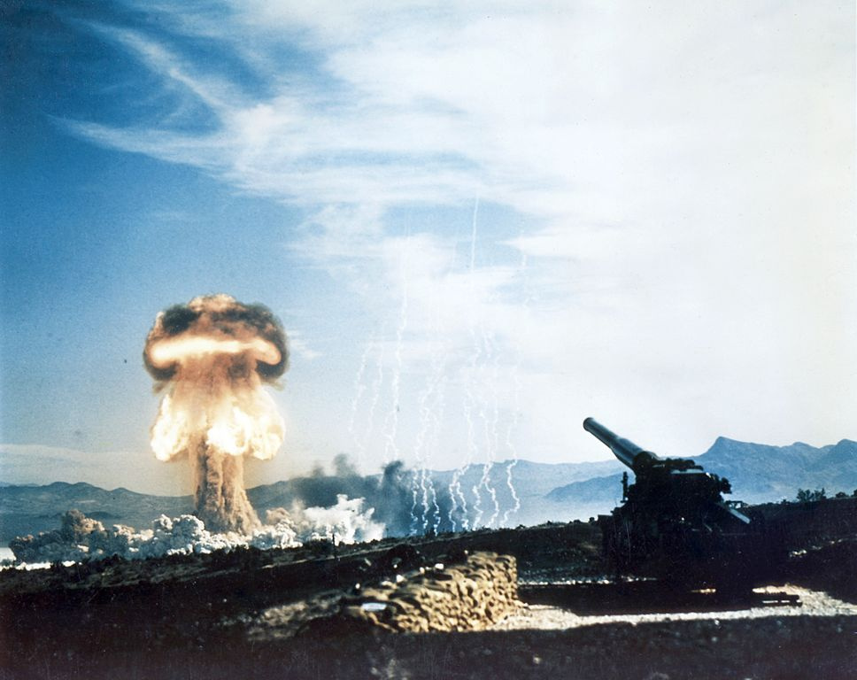 A 15-kiloton test fired from a 280-millimeter cannon on May 25, 1953 at the Nevada Proving Grounds. Wikimedia Commons/Public domain