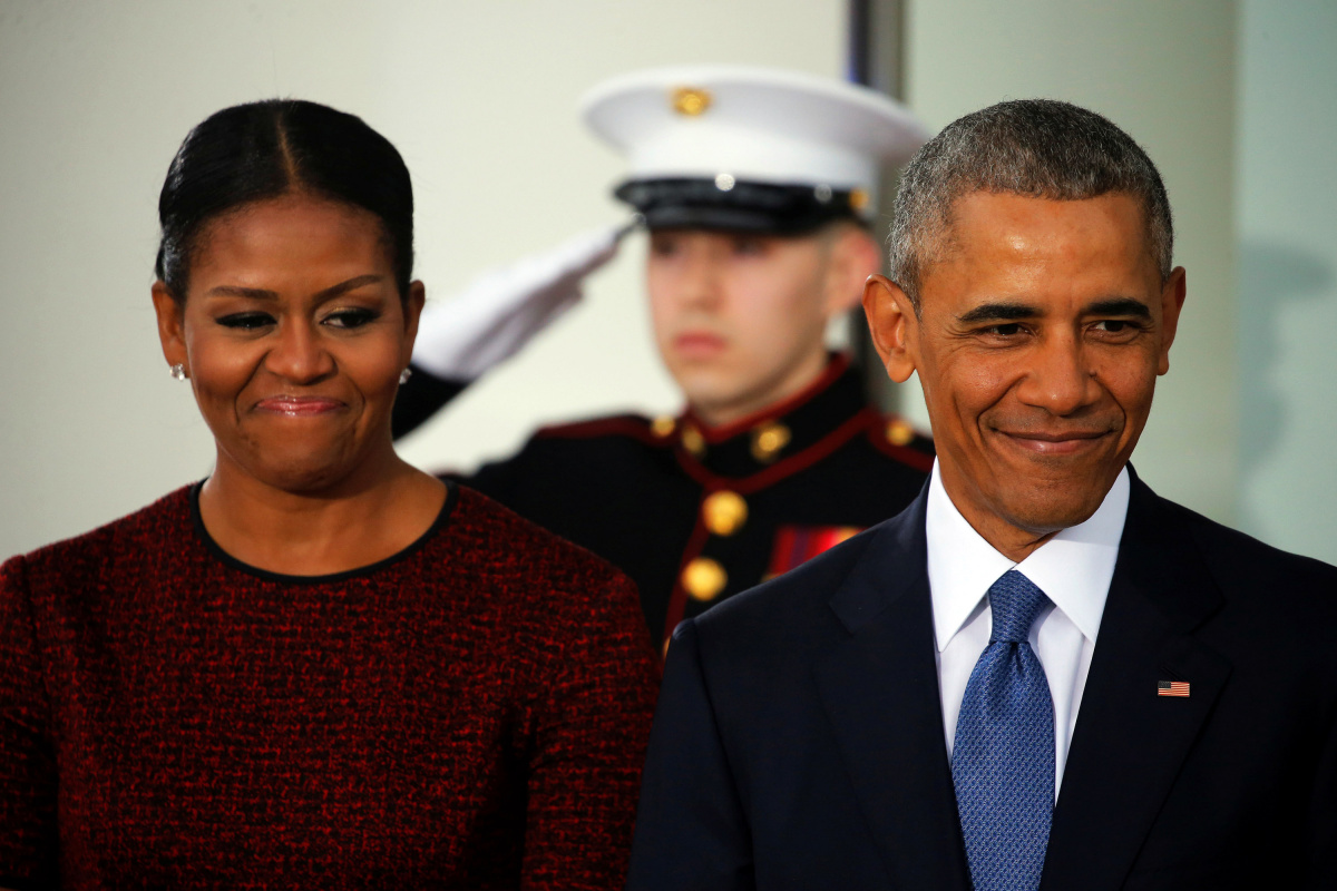 U.S. President Barack Obama and first lady Michelle Obama prepare to greet U.S. President-elect Donald Trump and his wife Melania for tea before the inauguration at the White House in Washington