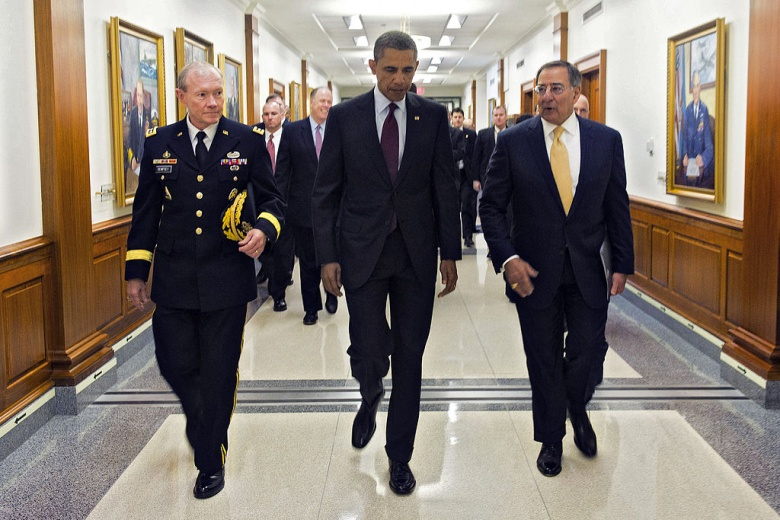 President Barack Obama with Defense Secretary Leon E. Panetta and Army Gen. Martin E. Dempsey, chairman of the Joint Chiefs of Staff. Wikimedia Commons/U.S. Department of Defense