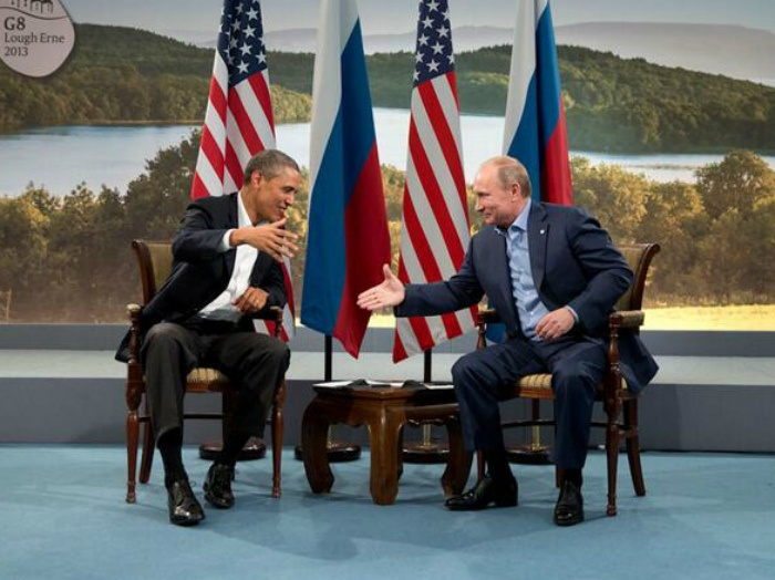 "Image: ""President Barack Obama of the United States and President Vladimir Putin of Russia prepare to shake hands for the cameras following statements to the press at the 39th G8 Summit at Lough Erne, County Fermanagh in Ireland on 17 June 2013."" White House photo."
