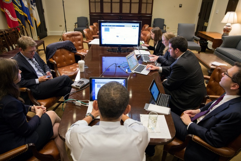 President Barack Obama participates in a live Twitter question and answer session in the Roosevelt Room of the White House. Flickr/The White House