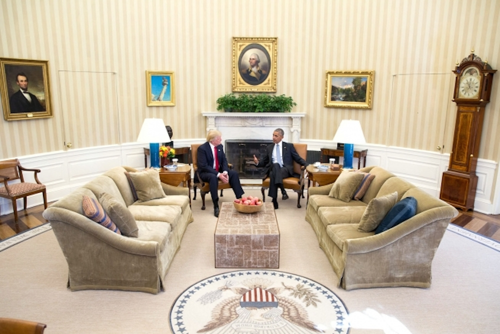 President Barack Obama meets with President-elect Donald Trump in the Oval Office. WhiteHouse.gov/Pete Souza