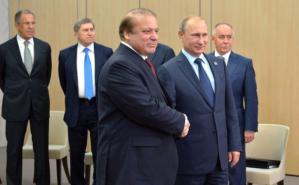 Presidents Vladimir Putin and Nawaz Sharif. Wikimedia Commons/Kremlin.ru