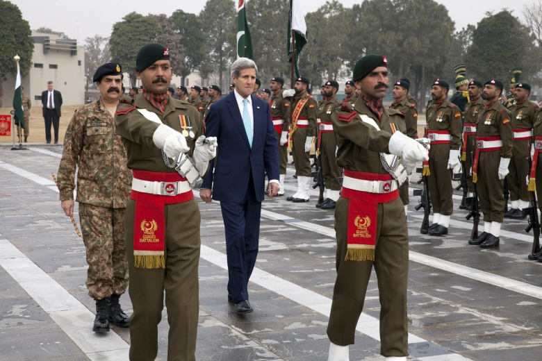 U.S. Secretary of State John Kerry, with Pakistani Chief of Army Staff Raheel Sharif, participates in a wreath laying ceremony at the General Headquarters. Flickr/U.S. Department of State