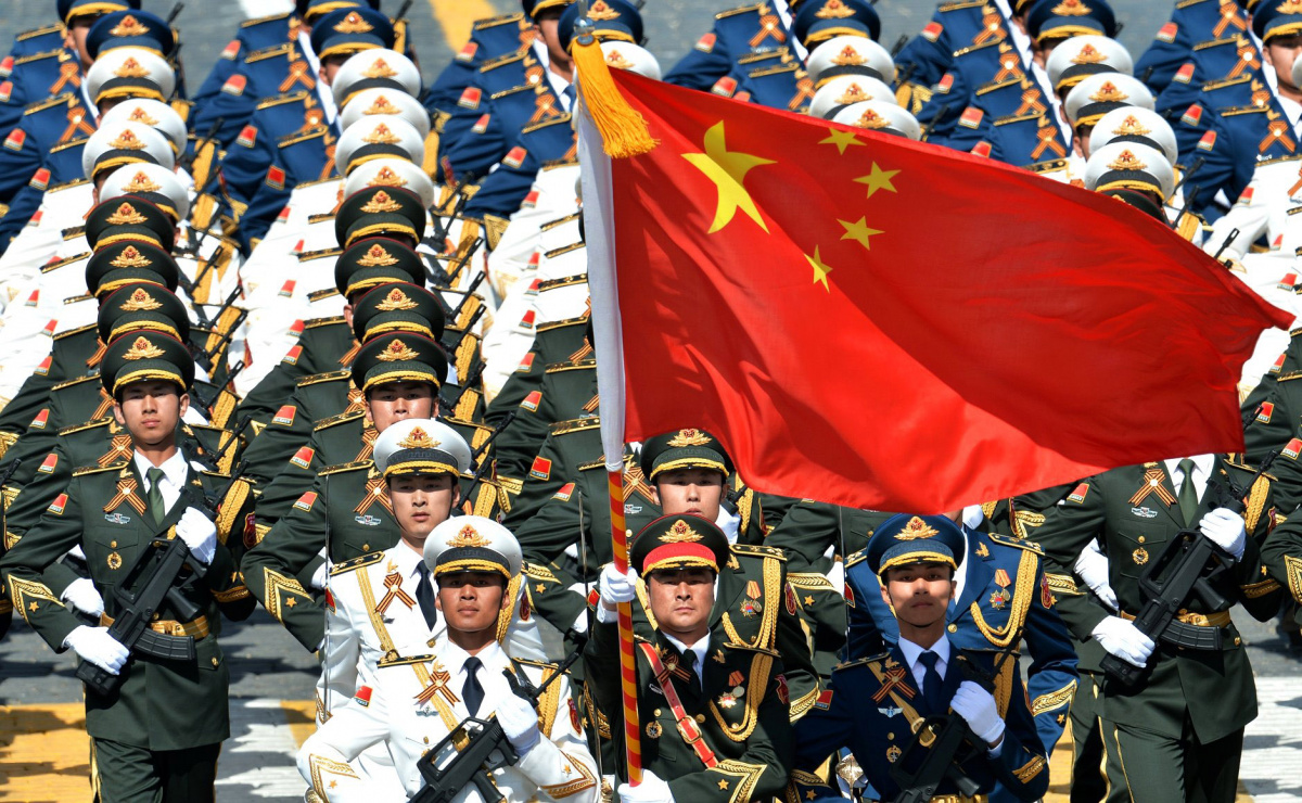 Chinese soldiers marching in Red Square as part of Victory Day celebrations.