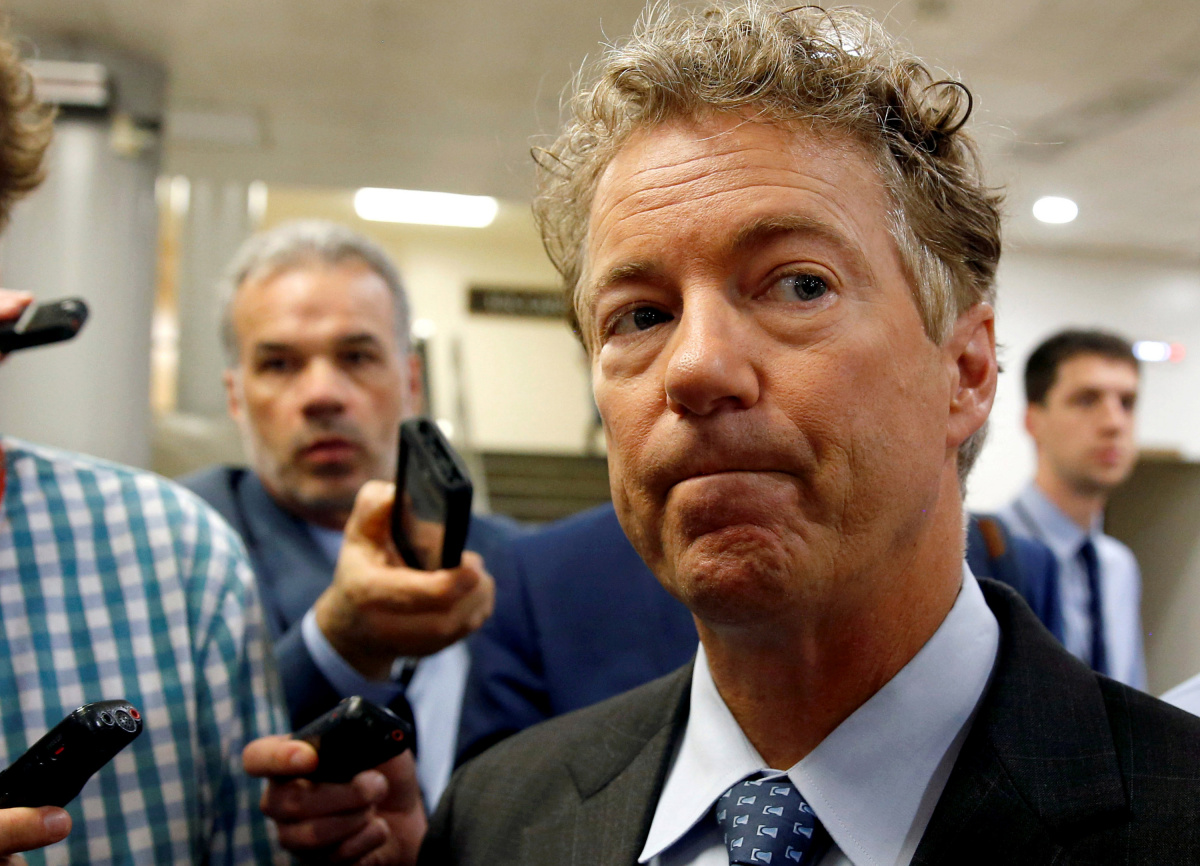 Senator Paul (R-KY) speaks to reporters in Washington