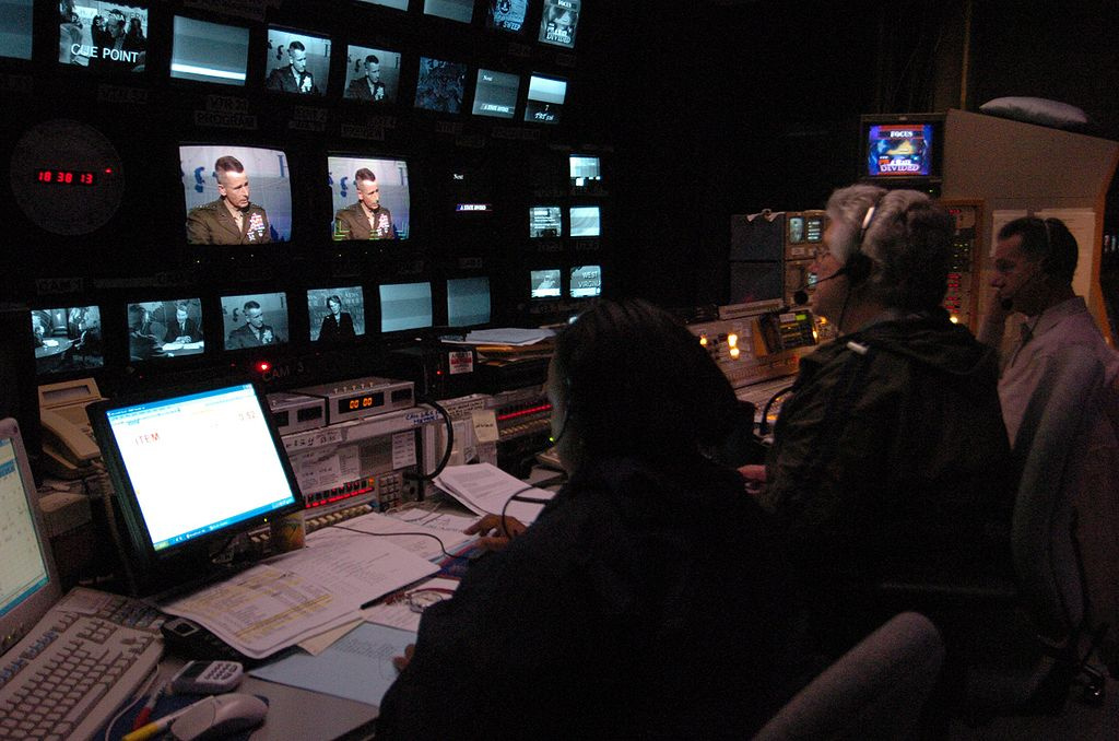 Control room of PBS's NewsHour. Wikimedia Commons/Public domain
