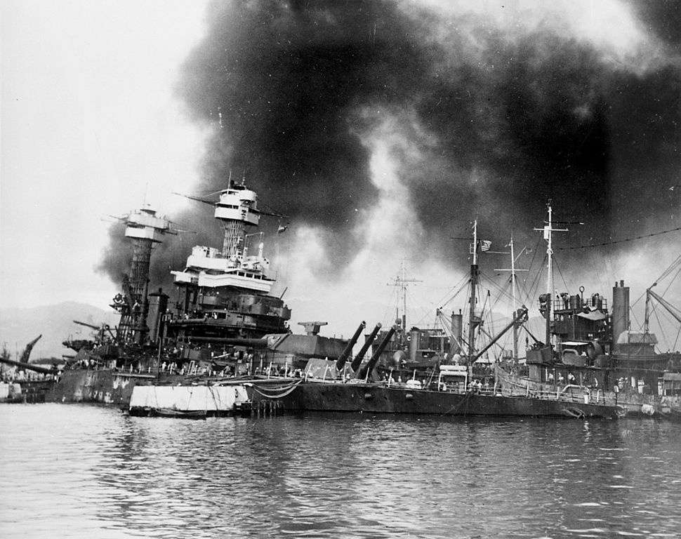 The U.S. Navy battleship USS California sinking after being torpedoed at Pearl Harbor. Wikimedia Commons/Public domain