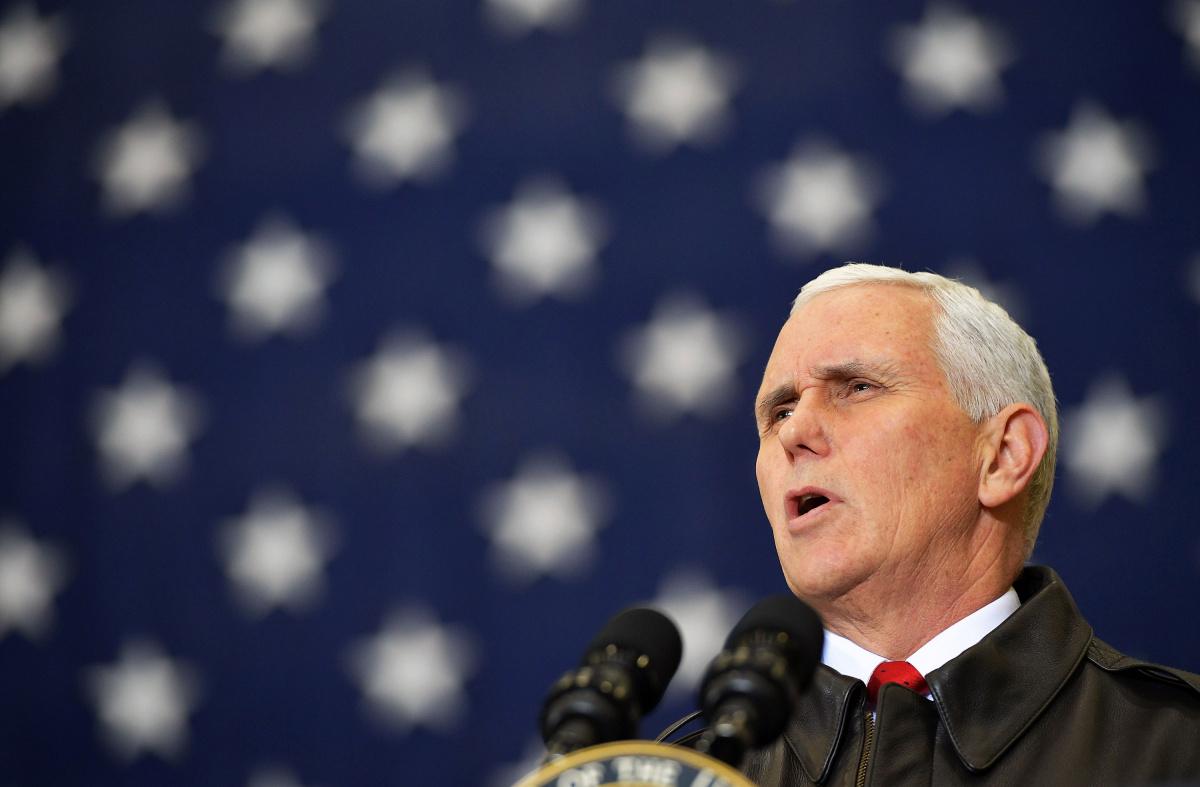 U.S. Vice President Mike Pence speaks to troops in a hangar at Bagram Air Field, Afghanistan