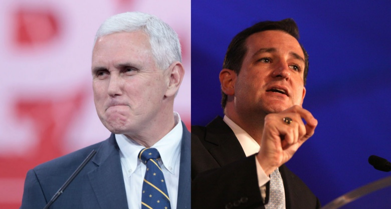 Image: Mike Pence, Ted Cruz. Photos by Gage Skidmore, CC BY-SA 2.0.