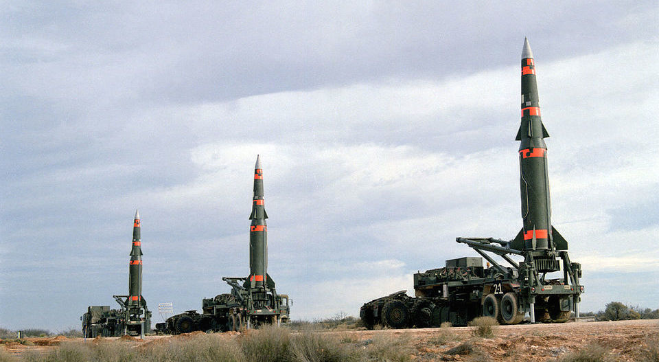 Several Pershing II missiles prepared for launching at Fort Bliss McGregor Range, 1987. Wikimedia Commons/Public domain