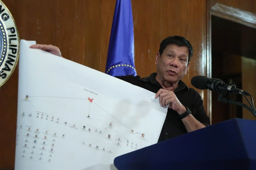 President Rodrigo Duterte presents a chart illustrating a drug trade network of high-level drug syndicates in the Philippines. Wikimedia Commons/Public domain/Presidential Communications Operation Office