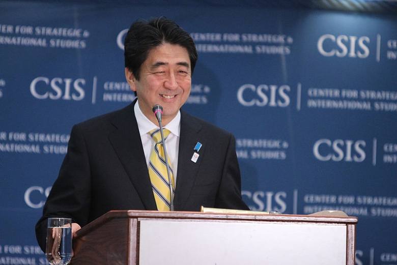 Image: Shinzo Abe at CSIS. Wikimedia Commons/Ajswab/CC by-sa 3.0.