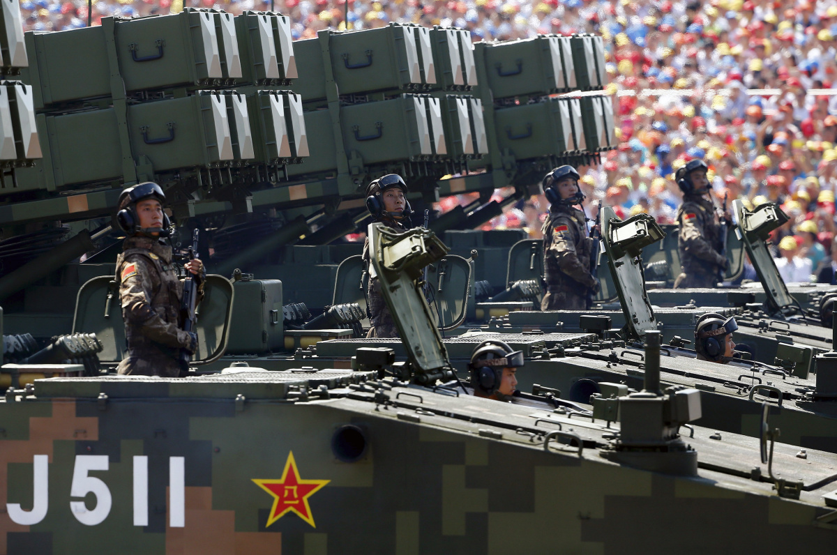 Anti-tank missiles are displayed during the military parade marking the 70th anniversary of the end of World War Two, in Beijing, China