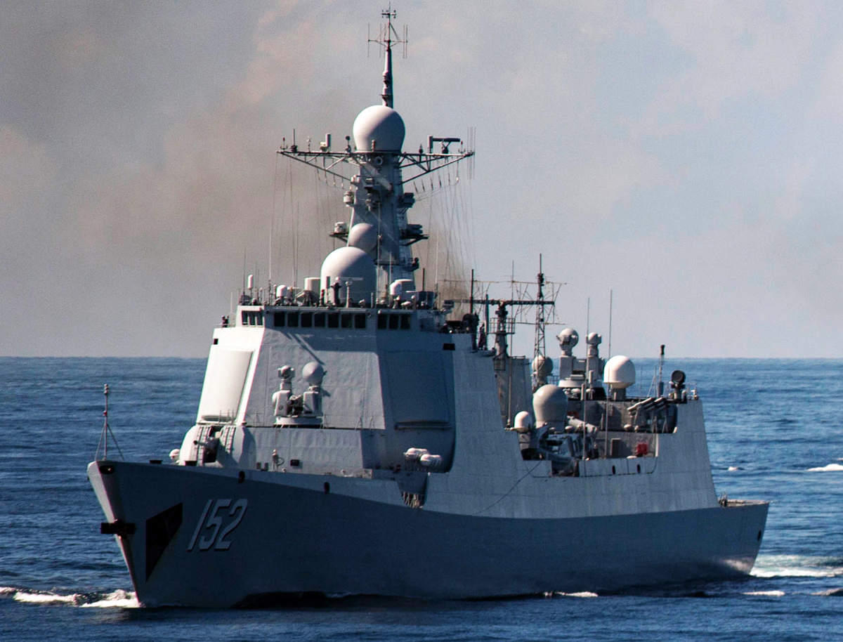 The Chinese guided missile destroyer PLANS Jinan (DDG 152) during a passing exercise.
