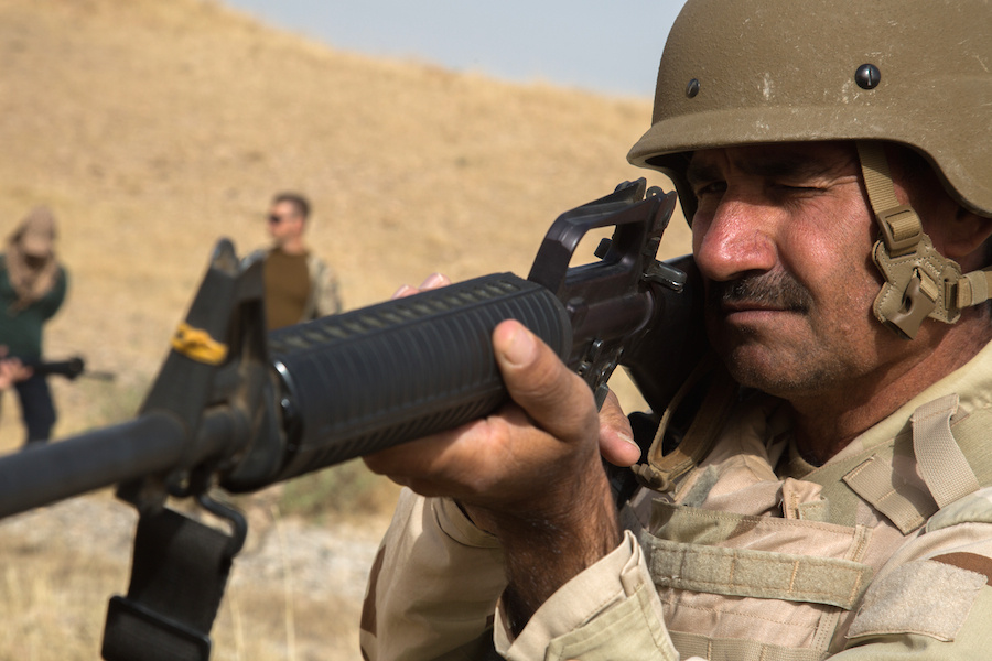 A Peshmerga soldier training near Erbil, Iraq. DVIDSHUB/Public domain