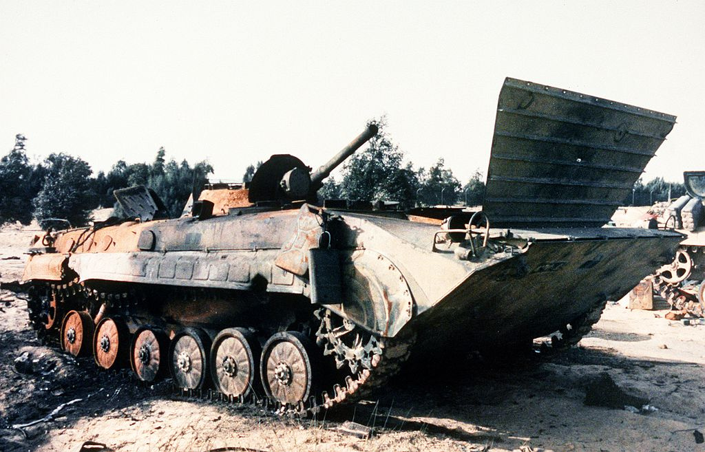 Iraqi BMP-1 IFV sits in a field after being destroyed during Operation Desert Storm. Wikimedia Commons/Department of Defense