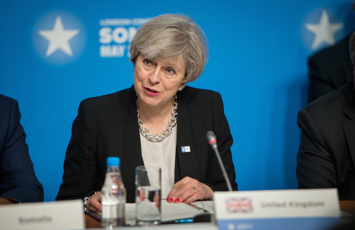 Prime Minister Theresa May speaks during an international conference on Somalia. Wikimedia Commons/U.S. Secretary of Defense