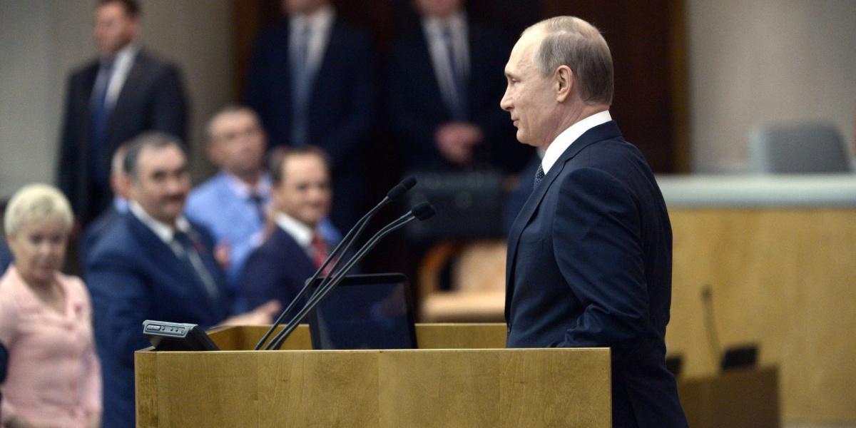 Vladimir Putin addresses the State Duma's plenary session in 2016. Kremlin.ru
