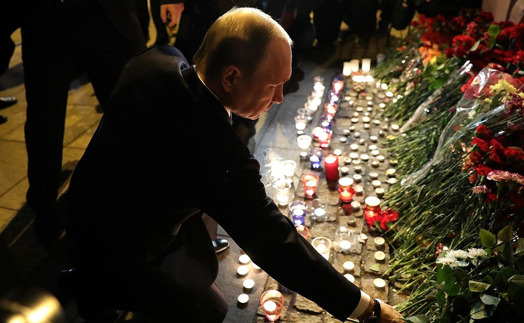 Vladimir Putin paying tribute to the victims of the April 2017 St. Petersburg bombing. Wikimedia Commons/Kremlin.ru