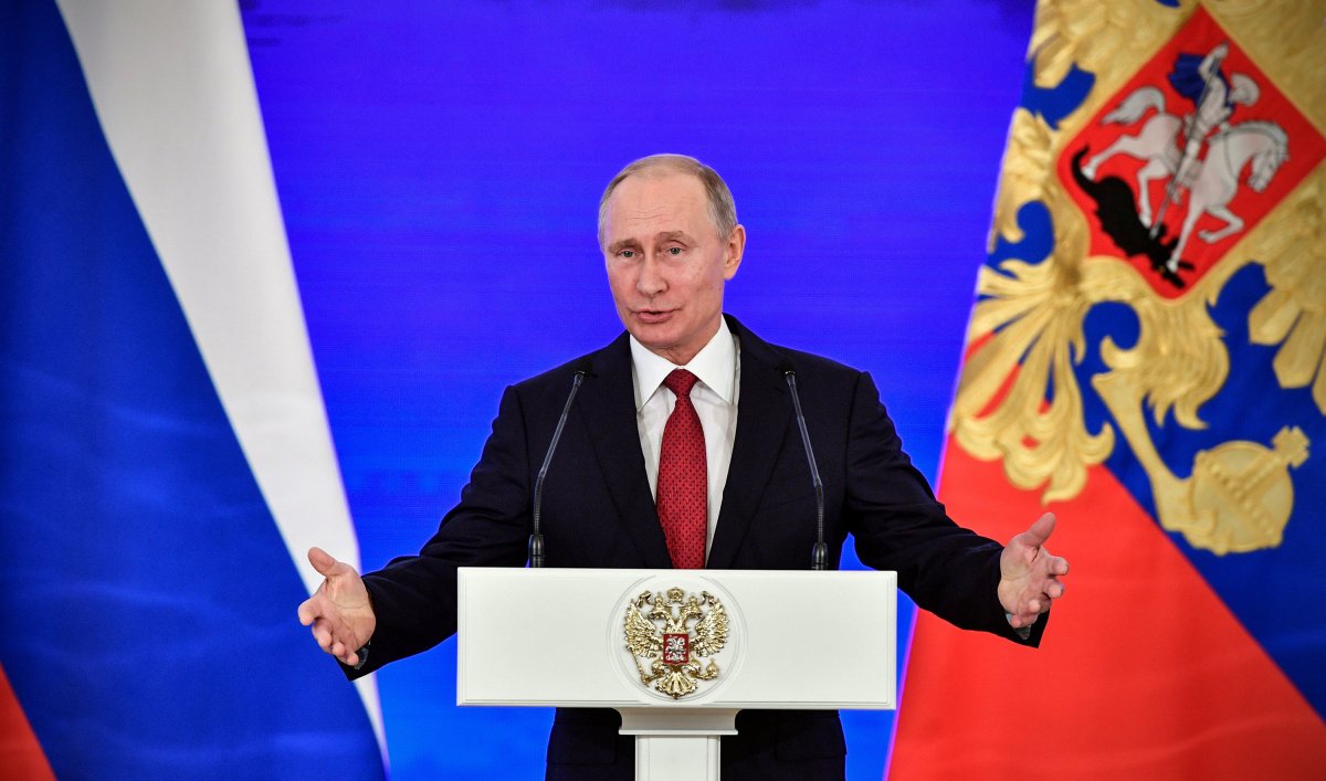 Russian President Vladimir Putin delivers a speech during a reception on the National Unity Day at the Kremlin in Moscow, Russia